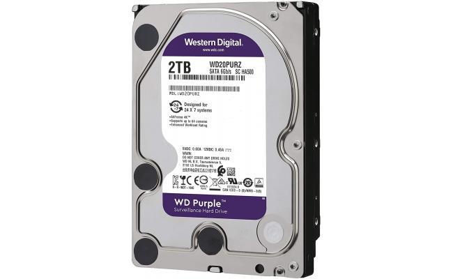 Western Digital Purple HDD Desktop Storage 2TB Surveillance 5400RPM SATA 6 Gb/s, 64 MB Cache - 3.5 Hard Drive