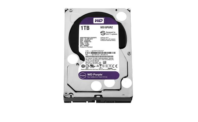 WD Purple 1TB Surveillance Hard Drive - 5400 RPM Class - SATA 6 Gb/s - 64 MB Cache - 3.5Inch