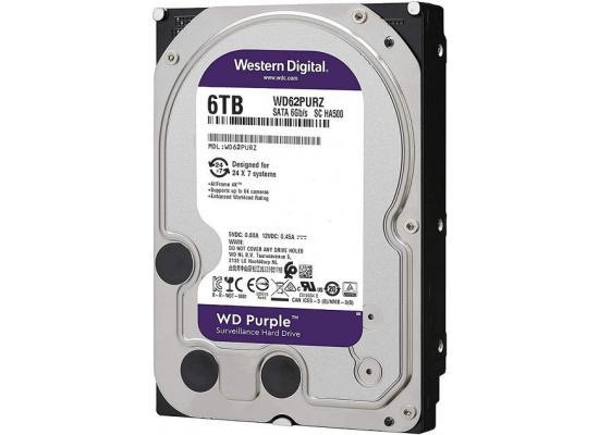 Western Digital Purple HDD Desktop Storage 6TB Surveillance 5400RPM SATA 6 Gb/s, 64 MB Cache - 3.5 Hard Drive
