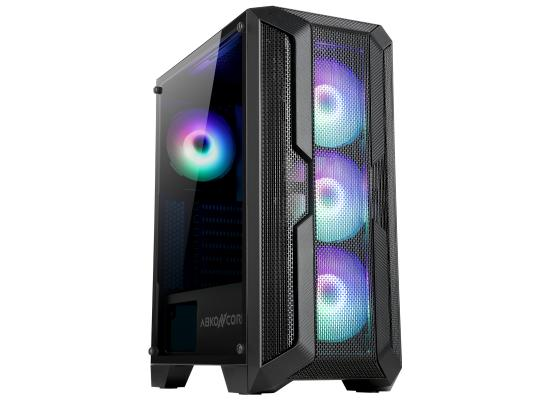 ABKONCORE H250X PREMIUM TEMPERED GLASS 4 FLOWER FANS MID TOWER CASE - BLACK