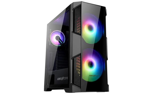 ABKONCORE Helios H500G 200mm RGB Fans and 120mm RGB Fan, Two Side Tempered Glass