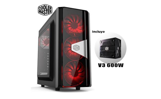 COOLER MASTER CMP505 RED LED + MWE 600W PSU Gaming Case