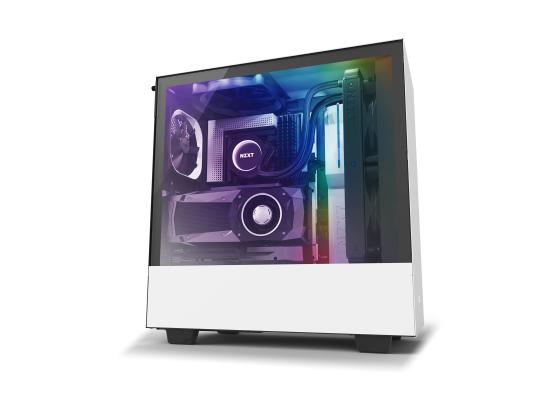 NZXT H510i MATTE WHITE Tempered Glass addressable LED strip Gaming Case