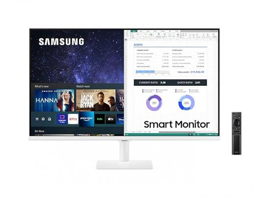 """SAMSUNG M5 27"""" FHD HDR10 Smart Monitor - with Netflix, YouTube, HBO, Prime Video and Apple TV Streaming - White"""