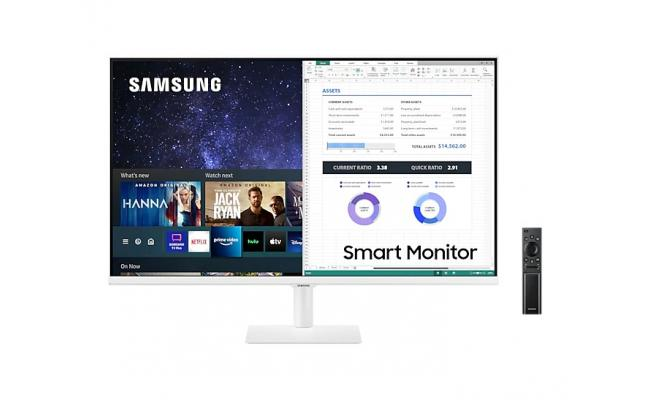 """SAMSUNG M5 32"""" FHD HDR10 Smart Monitor - with Netflix, YouTube, HBO, Prime Video and Apple TV Streaming , White"""