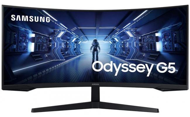 "SAMSUNG 34"" Odyssey G5 UWQHD (3440 X 1440) VA, HDR10 Gaming Monitor with 1000R Curved Screen, 165Hz, 1ms, FreeSync Premium"