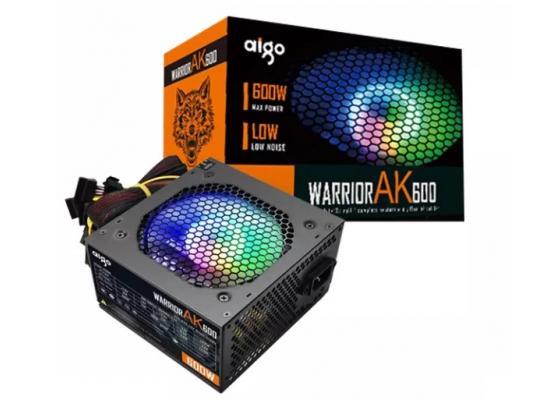 AIGO Warrior AK600, 600W ATX Power Supply, RGB Silent 120mm Hydraulic Bearing Fan