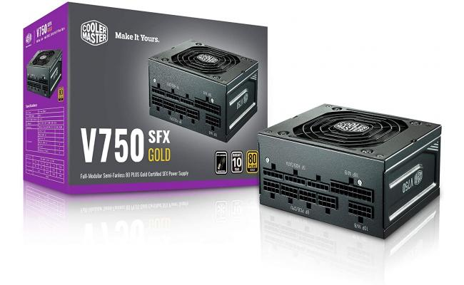 Cooler Master V750 SFX Gold Full Modular Power Supply, 750W, 80+ Gold Efficiency, ATX Bracket Included, Quiet FDB Fan, SFX Form Factor