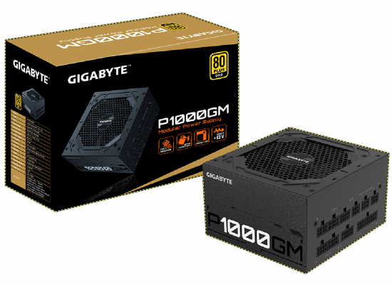 Gigabyte P1000GM 1000W 80 PLUS GOLD Fully Modular Main Japanese capacitors Compact Sized Power Supply