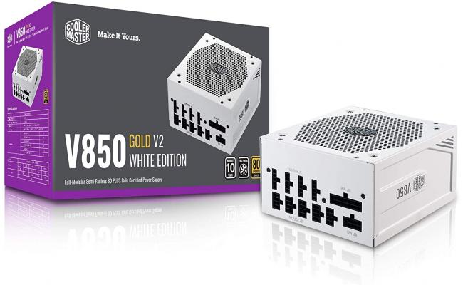 Cooler Master V850 Gold V2 Full Modular Power Supply, 850W, 80+ Gold Efficiency, Semi-fanless Operation, 16AWG PCIe high-Efficiency Cables - White Edition